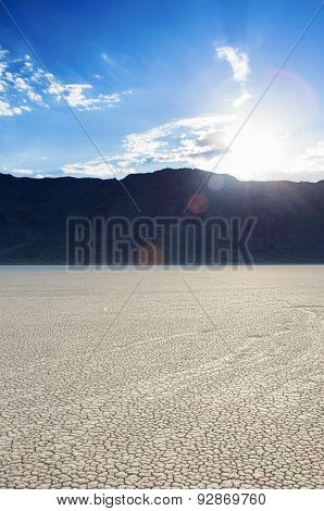 Long Traces Of Moving Stones In Racetrack Playa Old Dried Lake In Death Valley National Park.