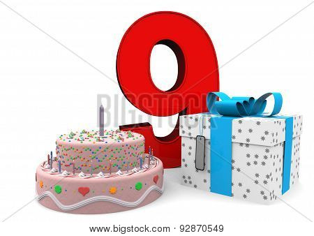 Happy Birthday With Present And Cake