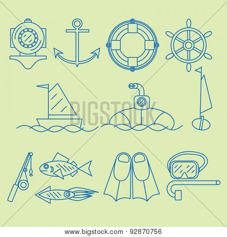 Set contour icon dedicated to the sea and maritime work.