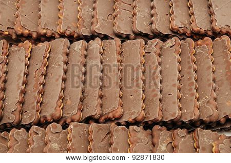 fresh chocolate biscuits. food background