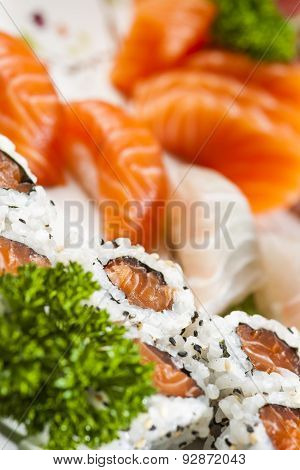 Sashimi Tuna, Salmon and White Fish with varied sushi