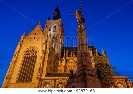 Gothic church in Belgium at night
