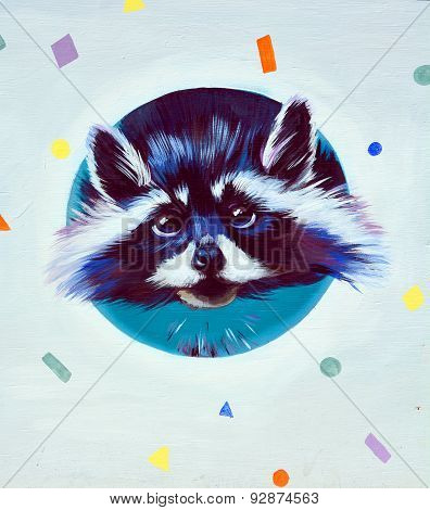 Street art raccoon