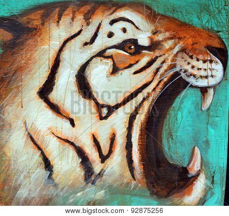 Street art tiger