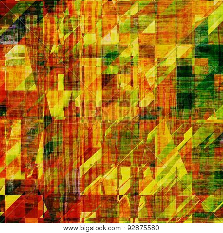 Art vintage background with space for text and different color patterns: yellow (beige); brown; green; red (orange)