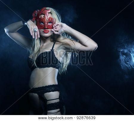blond woman posing in lingerie