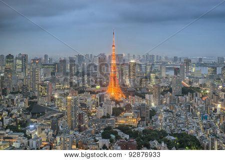 Tokyo Tower In Night In Tokyo City, Japan