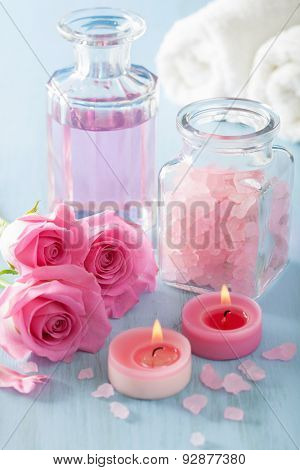spa aromatherapy with rose flowers perfume and herbal salt