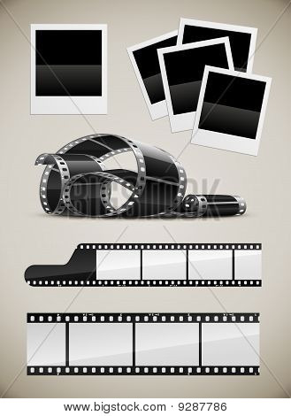 photo and video film pictures set