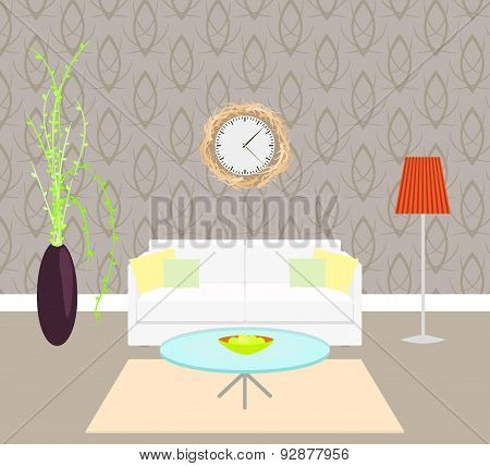 Living room interior with sofa and lamp on the floor, vase plant, wall clock branch frame.