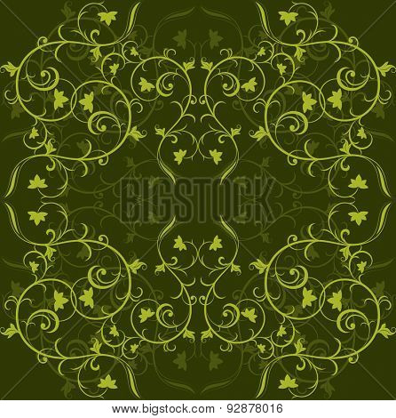 Dark green background with floral ornament.