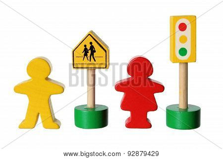 Wooden Figures With Traffic Lights