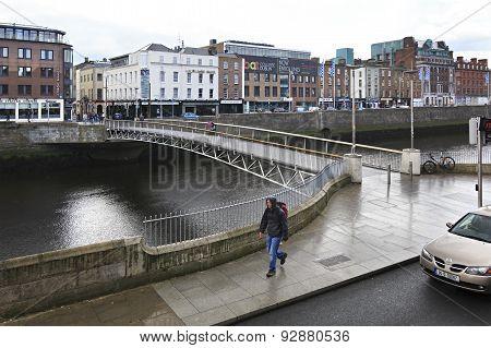 Millennium Bridge and River Liffey