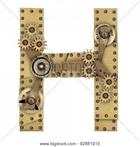 Steampunk mechanical metal alphabet letter H. Photo compilation