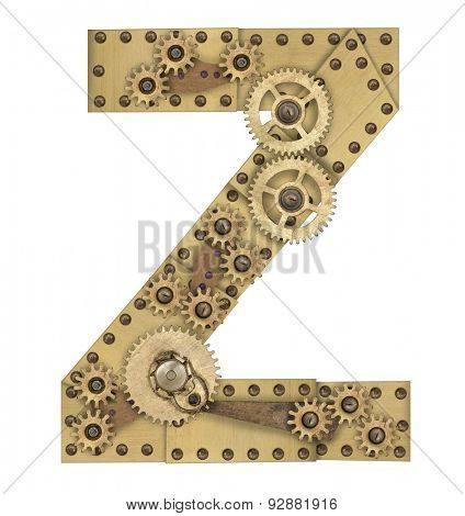 Steampunk mechanical metal alphabet letter Z. Photo compilation