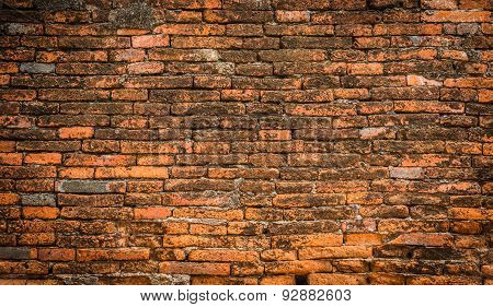 Old Red Brick Wall Surface