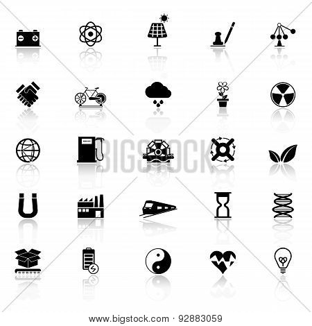 Renewable Energy Icons With Reflect On White Background