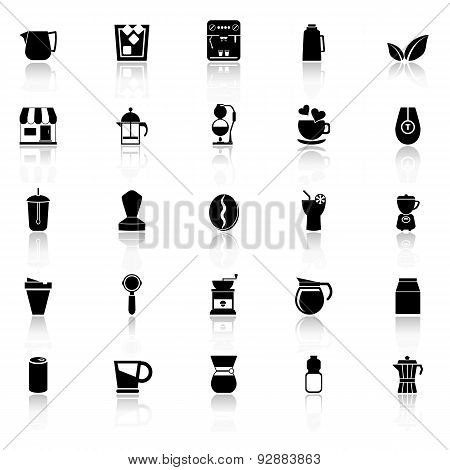Coffee And Tea Icons With Reflect On White Background