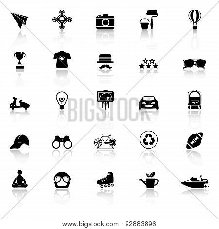 Hipster Icons With Reflect On White Background