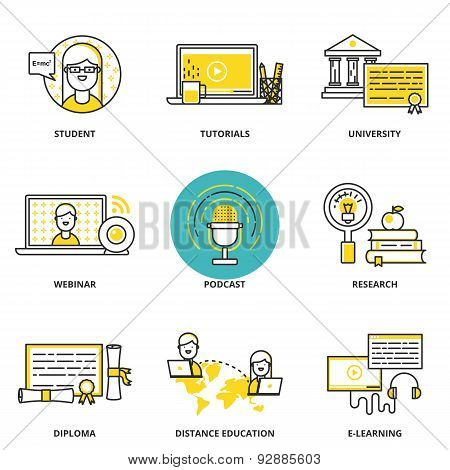 Education And E-learning Vector Icons Set