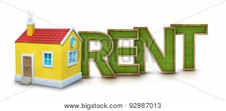 Rent text with 3d house