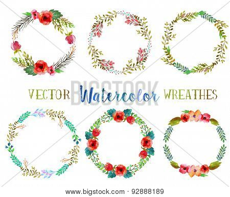 Vector watercolor wreathes with leaves and flowers.