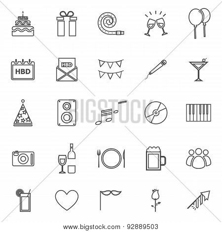 Birthday Line Icons On White Backgound