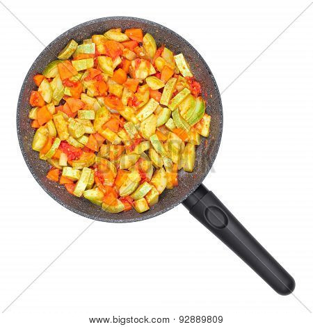 Vegetable Ragout. Zucchini And Tomatoes With Carrots In A Pan.