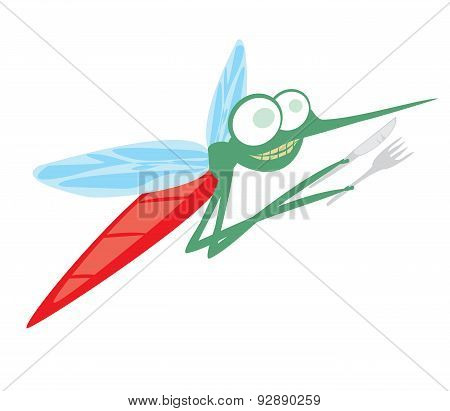 Funny Cartoon Mosquito With Fork And Knife
