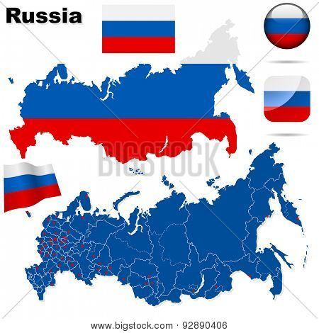 Russian Federation set. Detailed country shape with region borders, flags and icons isolated on white background.