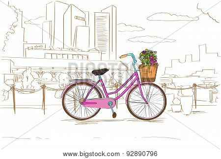 Pink Retro Bicycle with Flowers over City Sketch Vector