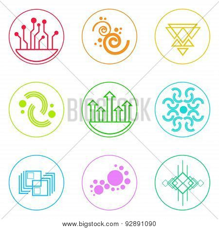 Abstract Logo Icons Set Thin Line Simple Colorful Collection