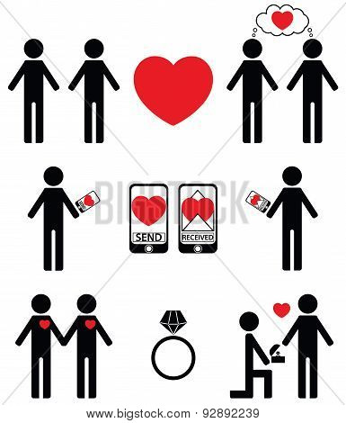Plain  impersonated  Falling in love and engagement icons set
