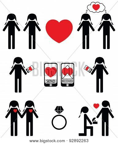 Gay women  falling in love and engagement icons set