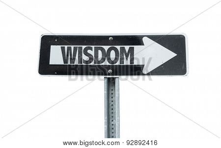 Wisdom direction sign isolated on white