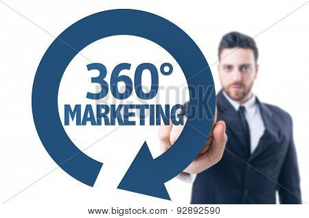 Business man pointing the text: 360 Marketing