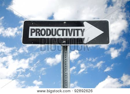 Productivity direction sign with sky background