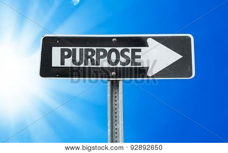 Purpose direction sign with a beautiful day