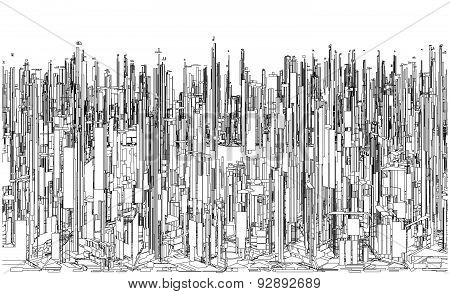 Futuristic Megalopolis City Of Skyscrapers Vector