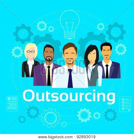 Business People Outsourcing Team Diverse Group Flat