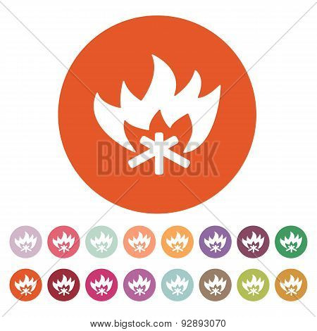 The Fire Icon. Bonfire Symbol. Flat