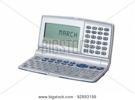 Electronic Personal Organiser Isolated - March