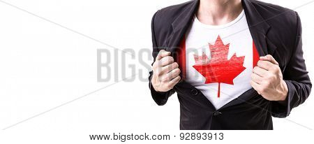 Businessman stretching suit with Canada Flag isolated on white background