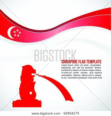 Abstract Singapore flag wave and red Merlion