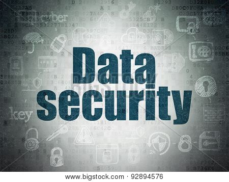 Protection concept: Data Security on Digital Paper background