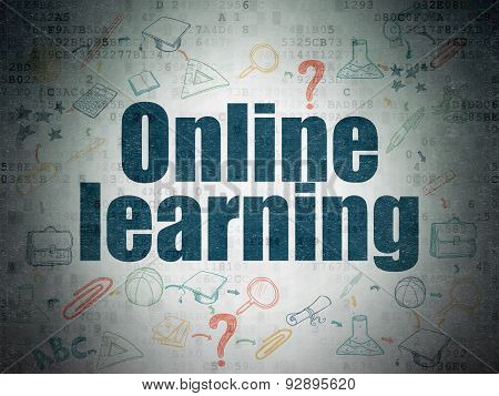 Studying concept: Online Learning on Digital Paper background