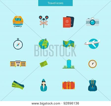 Flat design style modern vector illustration icons set of traveling on airplane and train