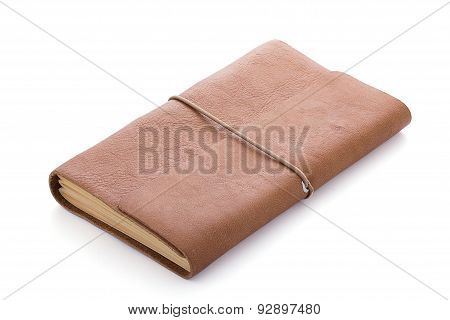 Hand Made Leather Notebook Isolated On White Background