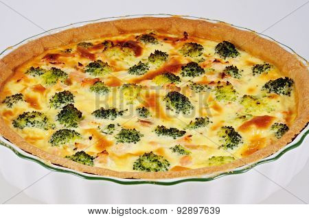 Salmon and Broccoli Quiche.