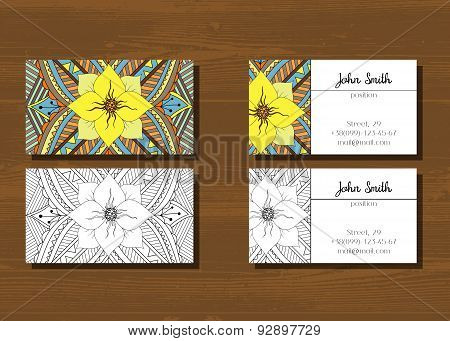 Business cards with zentangle pattern